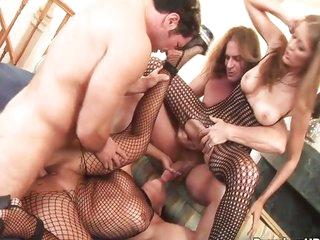 Backdoor banging creampie orgy