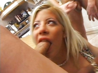 Sandra Parker fucks three dicks in a kitchen