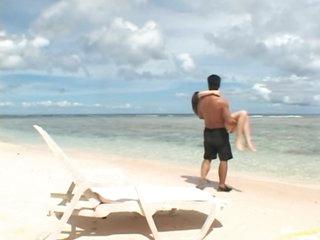 Super Hot Asian Babe Momo Sucks and Fucks a Cock on the Beach
