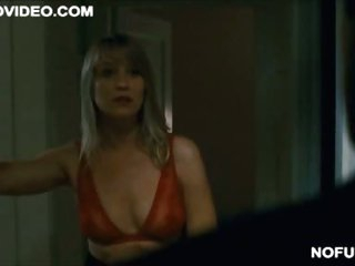 Blonde Celeb Trine Dyrholm Shows Her Rack in a See-Through Brasier