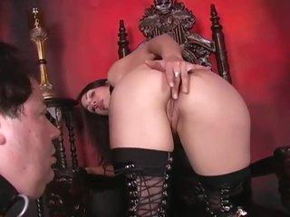 Femdom demands he clean her asshole