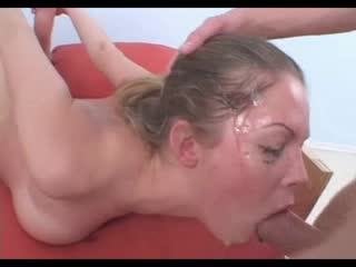 Teen face gets messy during throat fuck