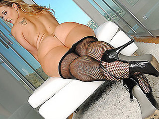 BIG ASS BLONDE SCHOOLGIRL SLUT IN FISHNETS OILED UP & FUCKED ANAL