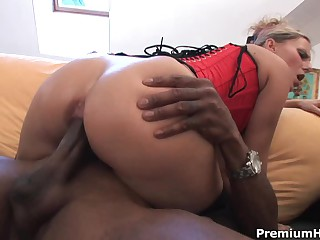 Blonde Patricia in black nylons and red corset has crazy interracial sex with dark skinned guy. He drills her white pussy and then she takes his dick in her mouth to make him explode.