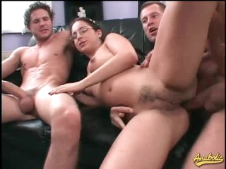 Nerd in glasses hardcore threesome with facials