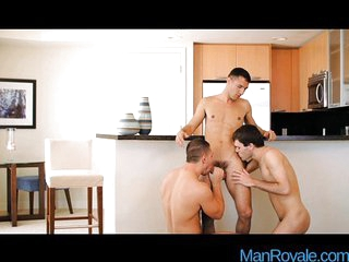 Gay twinks threesome anal pounding