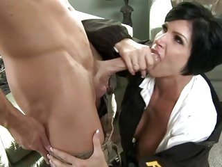 Naughty cop Shay Fox gobbles down this skin flute