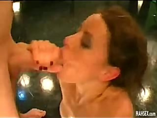 Brunette jerking off and fills her mouth with cum