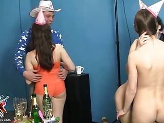 Pretty party girls have sex fun
