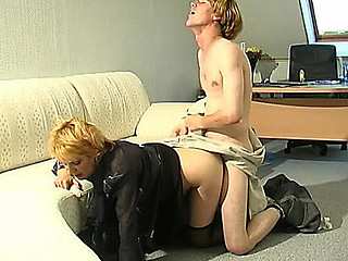 Lewd aged lady-boss having fucking amusement with her younger assistant