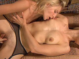 Heated lesbos in glossy nylons indulging in love melons fondling and bawdy cleft play