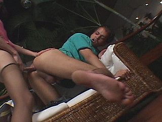Nylon clad shemale gal four fingering her guy