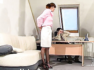 Lusty secretary in silky nylons giving legjob itching for rigid award