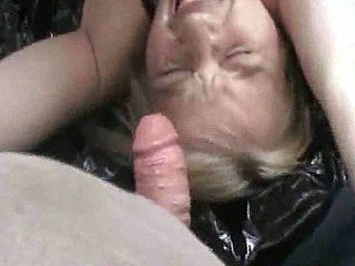 Older German blonde bitch is getting fucked by two guys, and she is doing it outdoors while one of those guys films her and gives her a nice facial.