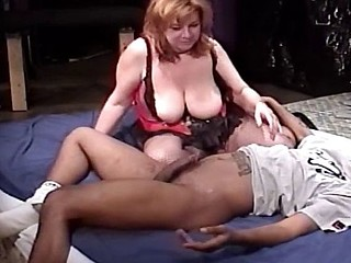 White plumper bouncing on top of black cock and taking it from behind