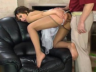 Raunchy chick in barely visible hose getting nailed after foot-massage