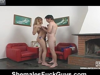 Appalling shemale and horny guy undressing for wild butt-ramming on armchair