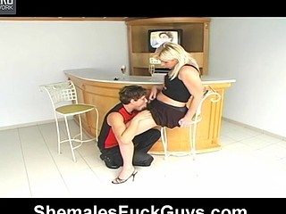 Sexy guy getting his first experience in wild fuck-n-engulf with sexy shemale