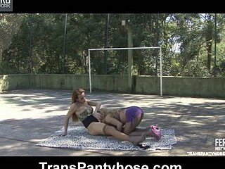 Dicky ladyboy in tan hose goes lesbo with a gal desirous for her shecock
