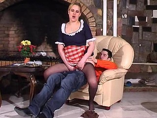 Horny French maid showing a guy various tricks with her smooth hose