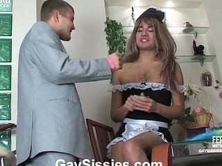 Slutty sissy in a French maid uniform widening his gazoo cheeks for hawt anal