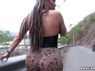 Big booty Sandra bends over for us so we can see her sexy ass. This milf has a huge round ass that everybody notices it and wanna stick something inside it. I get my paws on that ass and pull down her small black panties, curios why? Come on stay with us, perhaps we will get to watch this butt bouncing
