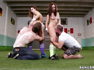 A boring game of soccer turns in a hot foursome! Jada and Remy are two very beautiful babes with hot round butts that are not only good at playing soccer but like other kind of balls too! The guys take off their panties and start to lick those bubble butts before the babes kneel and return the favor by sucking cock