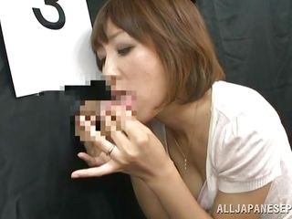 A pretty nippon milf is trying some glory holes to decide which cock is the best. She sucks it one by one and now she is at the last cock. What will she do? Is she going to approve all the dicks or she will pick one and have a lot of fun with it. Stay with her and enjoy the show