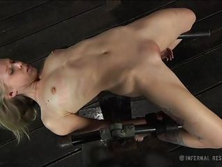 Slim blonde Sarah is tied on a bondage device that keeps her body flexed. The executor uses powerful suckers to torture her tits and makes her moan before fucking Sarah between her pink lips. Talking about pink lips, would you take a look at her pussy lips, so fragile and sweet, a hard dick will slide great between them