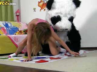 Panda plays twister with his pretty chick. All that touching and playing made both horny and now she wants to play another kind of game. The new game is about her and pandas cock. She undresses and remains only in her panties looking good and even better when she kneels. Will panda show her how to play?