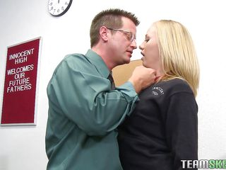 Take a look at this 20 years old Caucasian girl, Tracey. Here this blond bitch is asking for help to her teacher and she is ready to anything for it. SO the teacher is taking full advantage of her and stuffing her mouth with his dick. Then he is licking her cunt so that he can fuck her even harder.