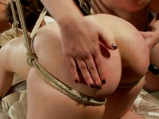 Curvy bitches are tied up and find themselves at the mercy of their redhead mistress. They get their big booties spanked till they`re so red and moan with pleasure at the same time. The sluts are thinking about filling their holes with a big strapon and start sucking and licking it to make it wet. Check it out!