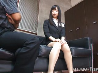 She is a brunette teacher with a hot body underneath those sexy clothes. After a short talk with this man she ends down on her knees and with his dick in her mouth. The fact that he is treating her like a cheap whore and the feeling of his penis in her mouth makes her horny. She likes being humiliated like a bitch