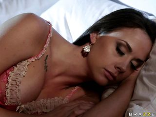 This gorgeous babe is taking a nap in her bed like a good girl until she wakes up because there is a fight in her house and a guy shoots her husband. Look at her big tits, juicy lips and very hot legs, this is what makes this guy grab her by the neck and starts undressing her so he can fuck this slut. Althought he shoot her..