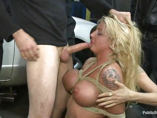 Blonde babe Leya Falcon gets her tits and hands tied together in rope bondage by hot brunette milf. Tommy Pistol puts her on her knees and fucks her throat roughly, spitting on her sweet whore face. Then he slams her pink bald pussy against the white car. She enjoys having big white meat inside her vagina.