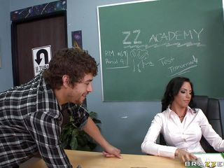Xander Corvus's younger bro is in trouble for a drawing he made about his teacher, Juelz Ventura. Xander just thinks she wants to fuck him. At first, she's disgusted by his comments and advances, but when her rubs her pussy, lust kicks in. He starts out with those huge tits.