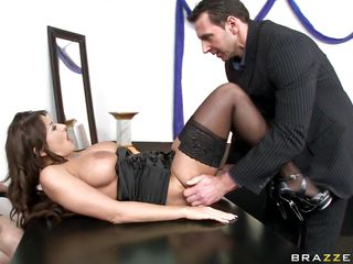 Watch this hot slut as she gets down on her knees like a good girl and starts sucking this guy thick hard cock. She gives him a nice blowjob and then takes it between her big nice tits before he lays her on the desk in front of another two sluts and fucks her between those hot spreaded legs.