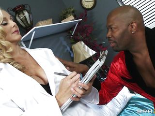 Mature busty blonde doctor arrives for checkup of her patient. Black man starts to seduce her and offers her for ride of her lifetime. At first doctor denies but slowly and steadily comes in the charm of huge hard black cock. He makes her naked and takes her to the bed and licks her fleshy pussy.