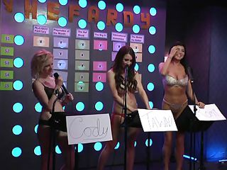 Hot bitches are playing a fun game and entertain the male guest a lot. They are either topless or wearing sexy lingerie. They realize that having your tits out helps your intelligence, because the slut who doesn`t wear a bra gives the most correct answers! Wanna see her huge boobs jiggling when she laughs?