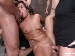 Cece Stone is getting a hardcore gangbang and these horny guys are doing it real love. Watch John Strong, Mr. Pete, Alex Gonz, Marco Benderas and Mark Davis having a good time with her. Every one of them get deep throat blowjob from her while the others are busy fucking her pussy as well hardcore anal.