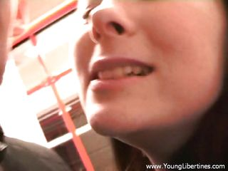 Watch this slut sucking a white cock in a public underground train . This sluts gets on her knees, shows her tongue and starts sucking the cock like a nice girl, she loves doing this and maybe that's the reason she always travels without buying a ticket.