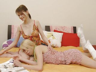 Horny sluts Alice and Beata are in the bedroom. These whores over here are damn horny and they start to have some fun by touching each other and licking each other's small tits and hard nipples. Soon one of them is without panties and with her legs spread so that the other one can enjoy her pussy.