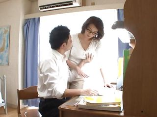 I don't know who's teaching who, but this guy is getting the most benefits out of the deal. Mio Takahashi has tremendous tits and he's squeezing them every chance he gets. It's not long before he's not satisfied with them being in the bra and soon he takes them out, exposing her nipples.
