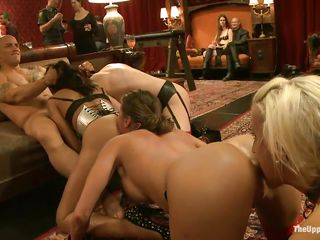 Skin Diamond, the brunette californian beauty is ready to share man meat with her gorgeous sex slave friends. The busty milf Ariel X, red haired Odile and sweet blonde Dylan Ryan stand in line on their knees craving for that white cock, licking each other's pussies. The stud repays Skin by fucking her rough.