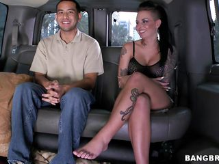 `Sexy brunette babe Christy Mack is hot sex bomb. And in the bait bus, one lucky guy has his chances to make love with her. Watch her giving him a handjob. Then she rides his cock in cowgirl and reverse; showing us her nice big boobs with hard nipples and juicy firm ass! Then she lies down, spreads legs to get fucked deeper!`