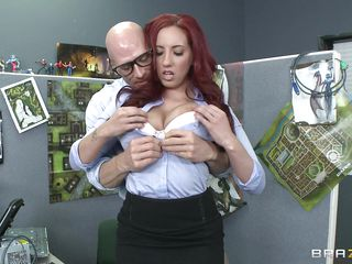 Look at Johny Sins how he looks at that hot redheads big hot tits and than he quickly starts to imagine that he is licking her hard nipples from behind and starts fingering her pussy. After that a brunette starts sucking his dick after she spits a cup of coffee on his pants.  Is he going to cum?