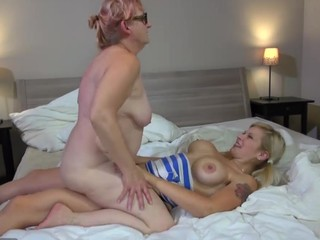 Old granny and youthful have sexy lesbo sex