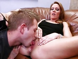Sexy ass blonde cougar gets her clit split licked in office