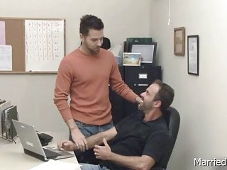 Hunk gets cock sucked at office