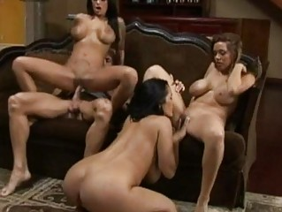 Three heavy chested pornstars sharing one bald stud in foursome